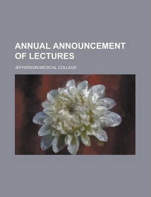 Annual Announcement of Lectures