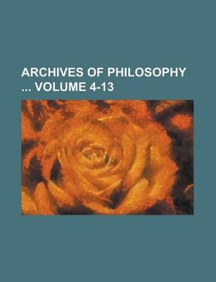 Archives of Philosophy Volume 4-13