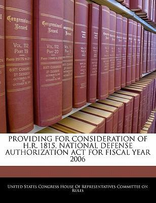 Providing for Consideration of H.R. 1815, National Defense Authorization ACT for Fiscal Year 2006
