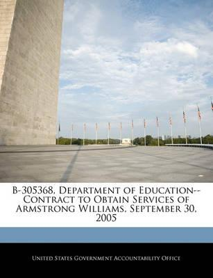 B-305368, Department of Education--Contract to Obtain Services of Armstrong Williams, September 30, 2005
