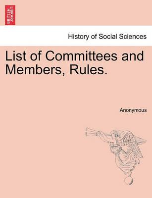 List of Committees and Members, Rules.