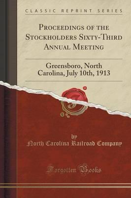 Proceedings of the Stockholders Sixty-Third Annual Meeting
