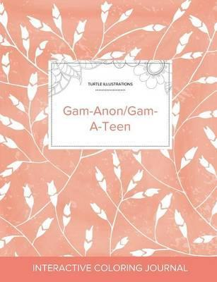 Adult Coloring Journal  Gam-Anon/Gam-A-Teen (Turtle Illustrations, Peach Poppies)