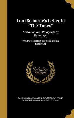 Lord Selborne's Letter to the Times