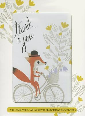 Fox on Bike Boxed Thank You Notes