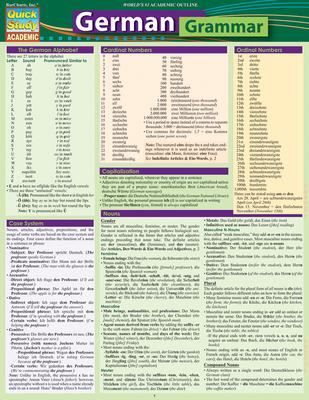 German Grammar : QuickStudy Laminated Reference Guide