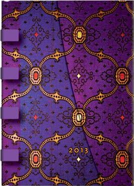 2013 French Ornate Violet Midi Week-at-a-time Horizontal Dayplanner