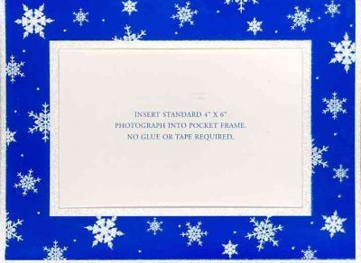Blue With Snowflakes Holiday Photo Frame Cards