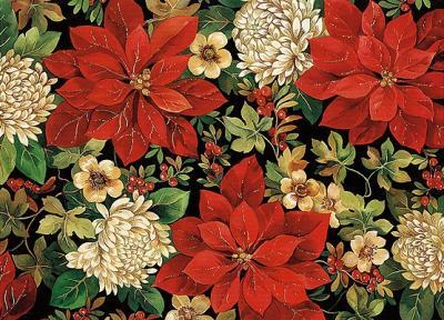 Ornate Poinsettia Deluxe Boxed Holiday Cards