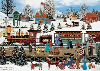 Deluxe Boxed Christmas Cards: Winter Train Station