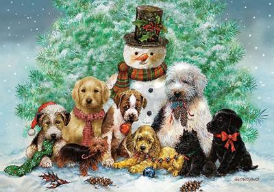 Mini Boxed Christmas Cards: Puppies and Snowman
