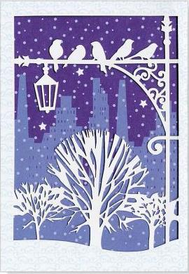 Mini Boxed Christmas Cards: Winter Roost Laser Cut