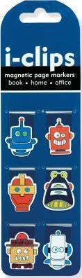 Robots Shaped I-Clips Magnetic Page Markers (Set of 6 Magnetic Bookmarks)