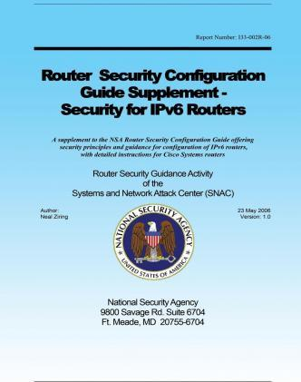 Router Security Configuration Guide Supplement - Security for Ipv6 Routers