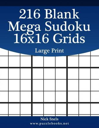 image about Blank Sudoku Grid Printable referred to as 216 Blank Mega Sudoku 16x16 Grids Superior Print : Nick Snels