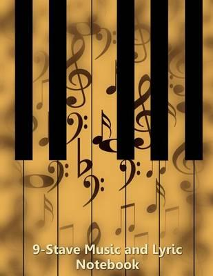 9-Stave Music and Lyric Notebook - Tan Piano Keyboard