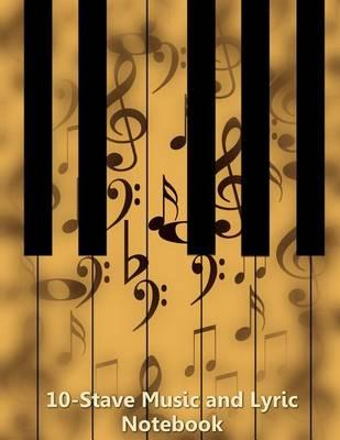 10-Stave Music and Lyric Notebook - Tan Piano Keyboard