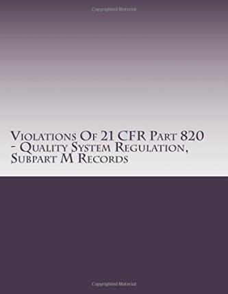Violations of 21 Cfr Part 820 - Quality System Regulation, Subpart M Records