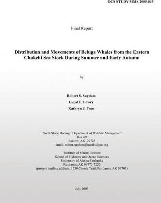 Distribution and Movements of Beluga Whales from the Eastern Chukchi Sea Stock During Summer and Early Autumn