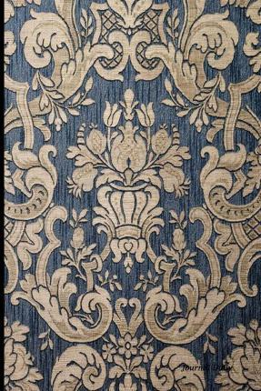 Journal Daily  Blue Antique Fabric Design, Lined Blank Journal Book, 6 X 9, 200 Pages