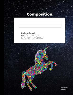 Unicorn Starlight Composition Book College Ruled Writing Notebook