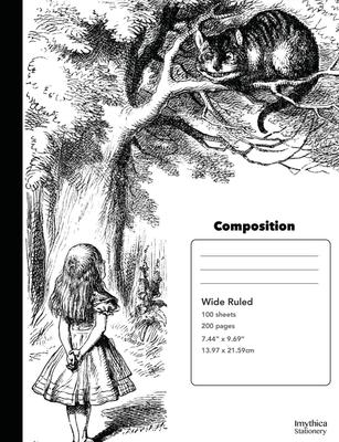 Alice and the Cheshire Cat Composition Book Wide Ruled Notebook