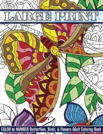 Large Print Color By Number Butterflies, Birds, and Flowers ...