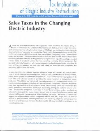 Sales Taxes in the Changing Electric Industry