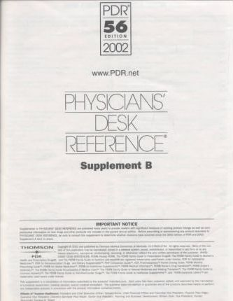 Physicianu0027s Desk Reference: Physiciansu0027 Desk Reference PDR Supplement A