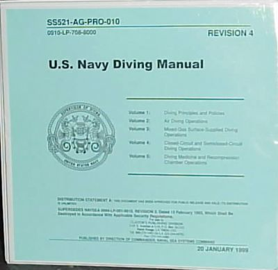U.S. Navy Diving Manual 1999/5 Volumes in 1 Binder