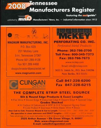 2008 Tennessee Manufacturers Register