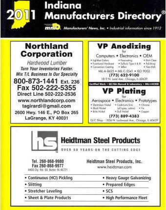 Indiana Manufacturers Directory 2011