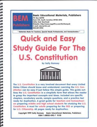 Quick and Easy Study Guide for the U.S. Constitution
