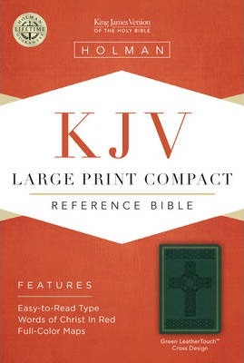 KJV Large Print Compact Reference Bible, Green Cross Design Leathertouch