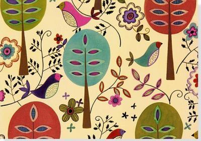 Note Card Folk Art Birds