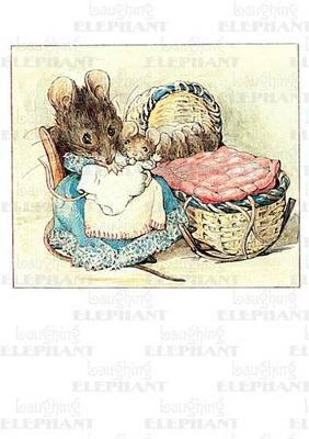 Mother Mouse with Babies - New Child Greeting Card