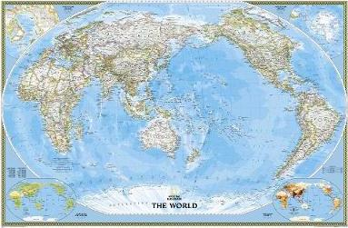 World Classic, Pacific Centered, Enlarged &, Tubed  Wall Maps World