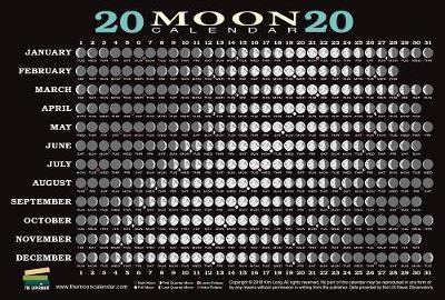 Lunar Calendar 2020 2020 Moon Calendar Card (5 pack) : Kim Long : 9781615195558