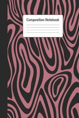 Composition Notebook  Stylish Rose Gold Black Brindle Notepad For School or Work. 6 x 9 Line Wide Ruled Journal With Soft Matte Cover.