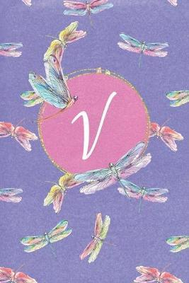V  Dragonfly Journal, personalized monogram initial V blank lined notebook - Decorated interior pages with dragonflies