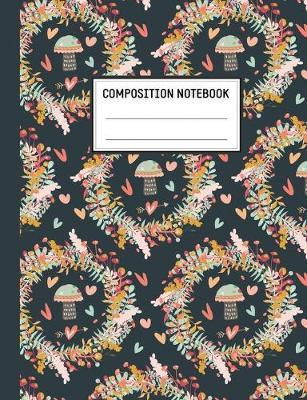 Composition Notebook  120 Pages - Wide Ruled - For Girls in Elementary or Middle School - Matte Cover with a Fall Leaves Wreath Pattern