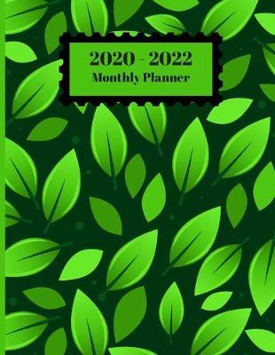 2020-2022 Monthly Planner  2 Year Planner 24 Month Appointment Calendar Organizer And Journal Notebook Green Leaves Falling Cover Size 8.5 X 11