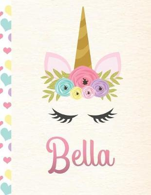 Bella  Personalized Unicorn Journal For Girls - 8.5x11 110 Pages Notebook/Diary With Pink Name