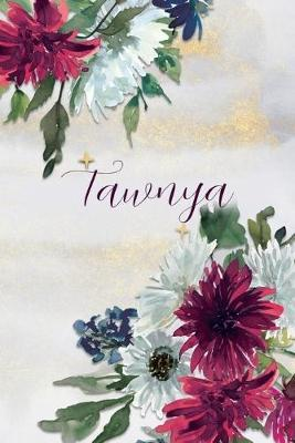Tawnya  Personalized Journal Gift Idea for Women (Burgundy and White Mums)