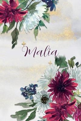 Malia  Personalized Journal Gift Idea for Women (Burgundy and White Mums)