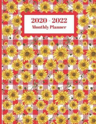 2020-2022 Monthly Planner  Sunflowers Floral Flower Red Checkered Plaid Floral Cover 2 Yr Planner Appointment Calendar Organizer And Journal Notebook