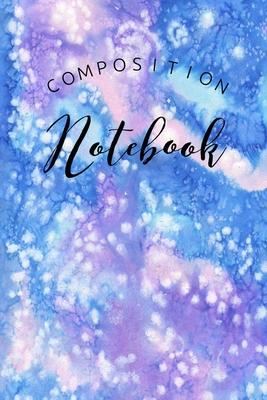 Composition Notebook Blue  College Ruled Artic Watercolor Blue and Purple Design For Girls Teen School Office