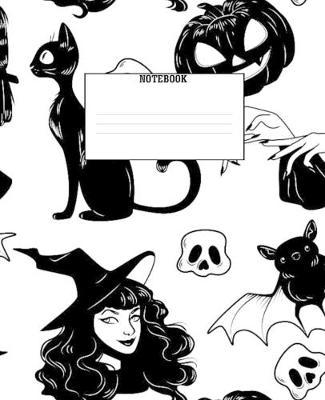 NoteBook  7.5 x 9.25, 120 College Ruled Pages, Spooky Witch Themed Cover With Matte Finish For All Ages Kids And Adults