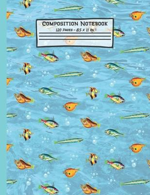 Fish Composition Notebook  Fish Gifts Paperback Blank Wide Ruled Lined Paper Journal for School 8.5 x 11