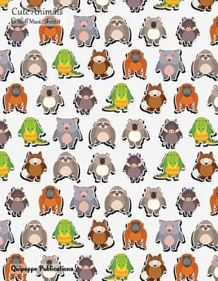 Cute Animals 10-Staff Music Sheets  10-Staff Music Notation and Songwriting Notebook, Cute Animals Animal Stickers Pattern Ms10 Cover, 8.5x11, 200 Pages